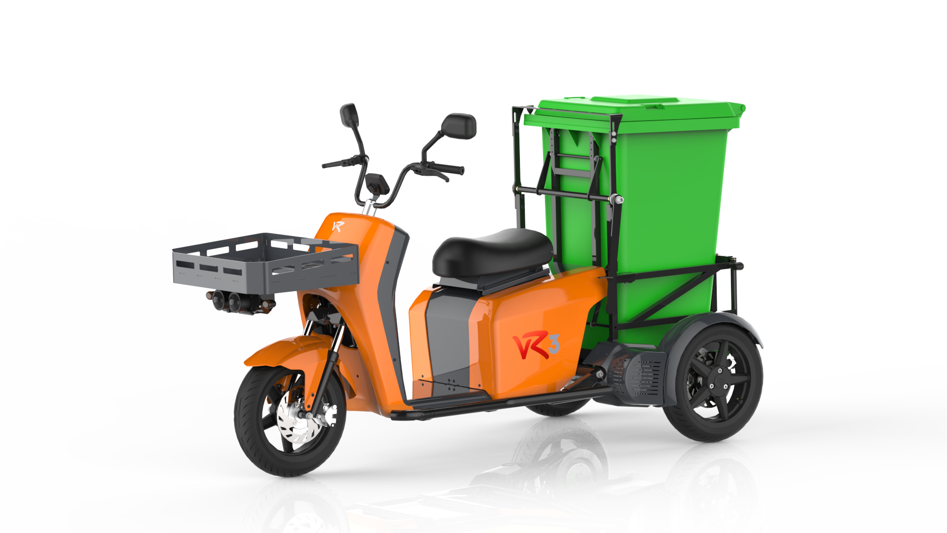 The vR3 electric tricycle as a municipal vehicle with support for foliage container