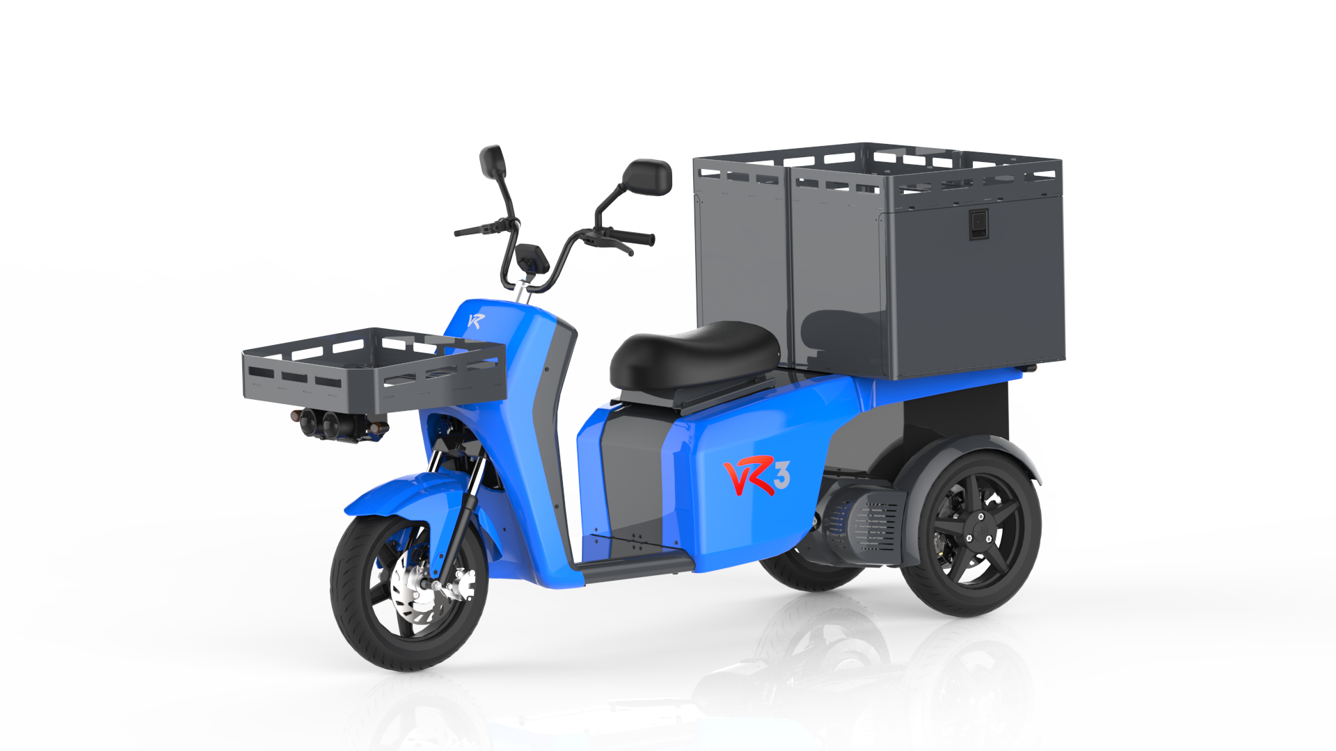 The vR3 electric tricycle as a delivery vehicle with double container